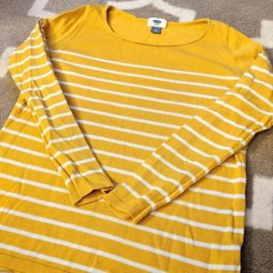 Mustard yellow and white stripped sweater